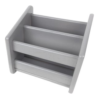 Modern Gray Wood Mail Holder Office Desk Organizer For Sale