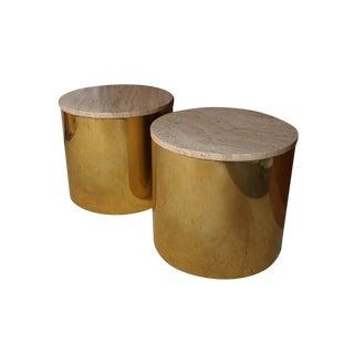 Paul Mayen Mid Century Pair Brass Round Side Drum Tables Travertine Top For Sale