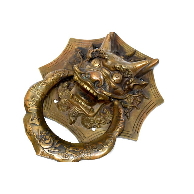 Gold Vintage Medium Asian Dragon Door Knockers- a Pair For Sale - Image 8 of 13