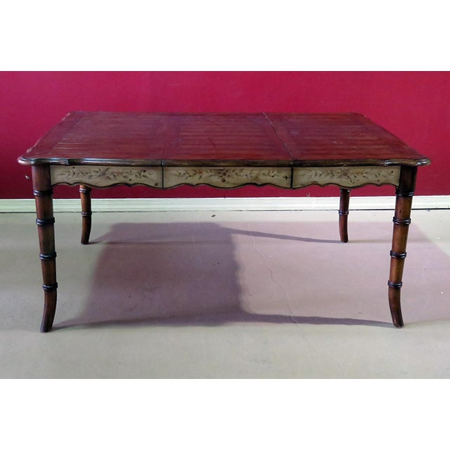 20th Century Chippendale Faux Bamboo Dining Room Table For Sale - Image 9 of 9