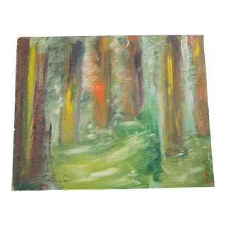 Vintage Landscape Abstract Oil Painting For Sale