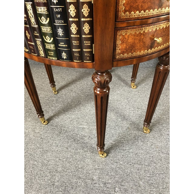 Round Leather Wrapped Side Table Cabinet With Trompe l'Oeil Books For Sale In Philadelphia - Image 6 of 13