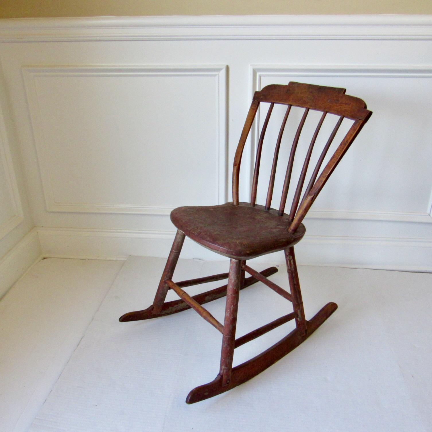 Antique Childs Wooden Rocking Chair - Image 5 of 5 & Antique Childs Wooden Rocking Chair | Chairish