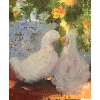Abstracted Painting of a Pair of Ducks or Geese For Sale