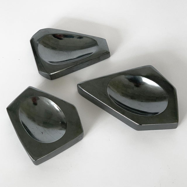 Set of Three Carved Hematite Stone Vide Poches For Sale - Image 4 of 8