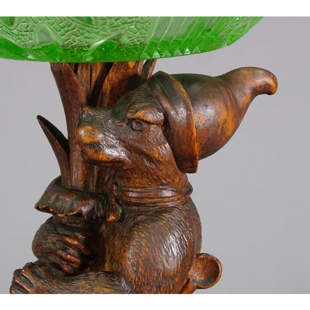 Black Forest Antique Wooden Carved Black Forest Fox With Glass Bowl For Sale - Image 3 of 8