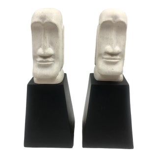 Vintage Aztec Black and White Bookends - a Pair For Sale