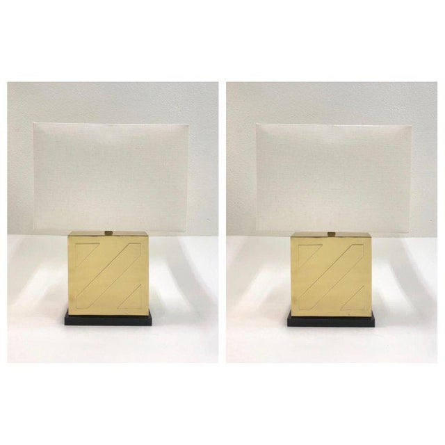 Art Deco Chapman Polish Brass and Black Lacquer Table Lamps - a Pair For Sale - Image 3 of 11