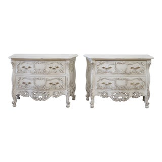 Vintage Pair of Carved and Painted Nightstands or Bedside Commodes For Sale