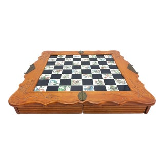 Vintage Chinese Folding Travel Chess Set For Sale