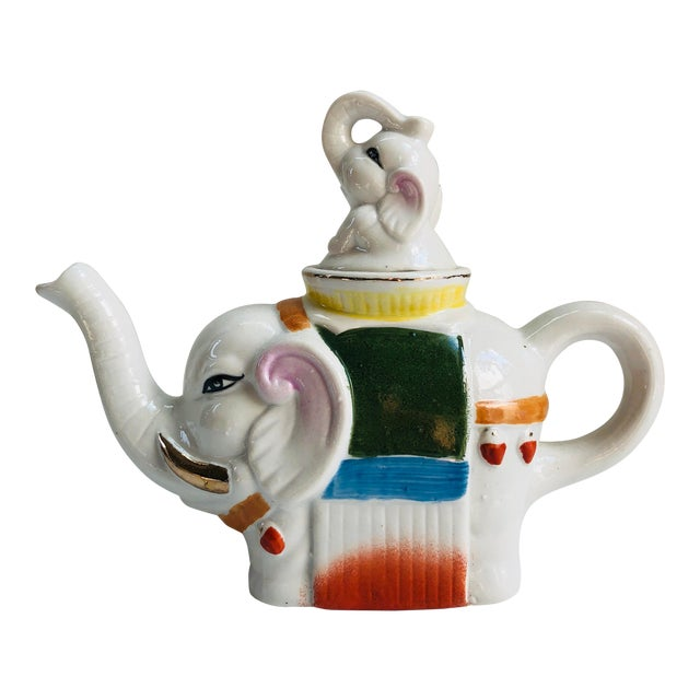 Vintage Chinese Famille Rose Style Gilt Elephant Teapot For Sale