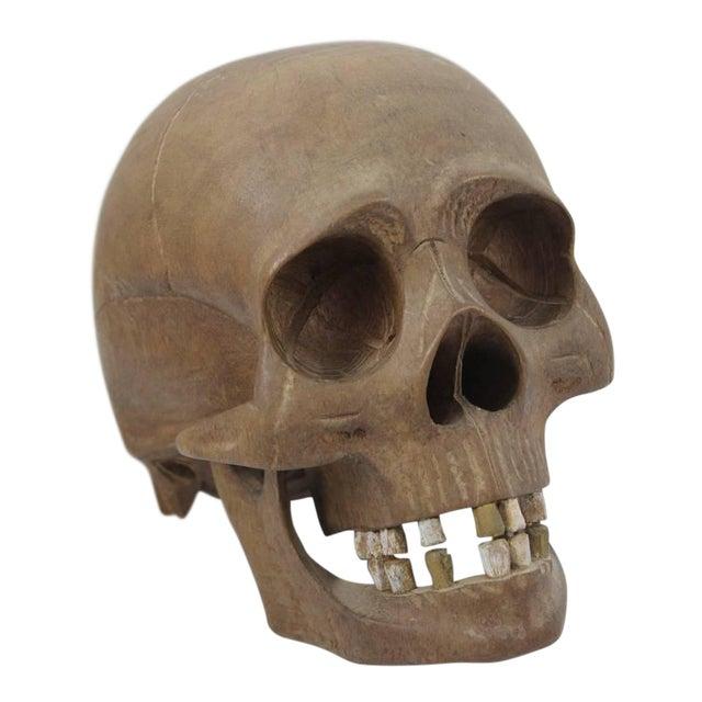 Vintage Hand-Carved Wooden Skull - Image 1 of 6