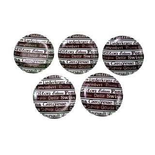 1970s Vintage Typographic Cheese Plates- Set of 4 For Sale