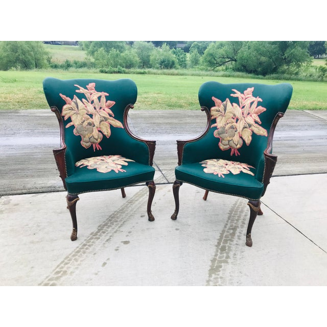 Hollywood Regency Late 19th Century Carved Mahogany Wingback Chair - a Pair For Sale - Image 3 of 10