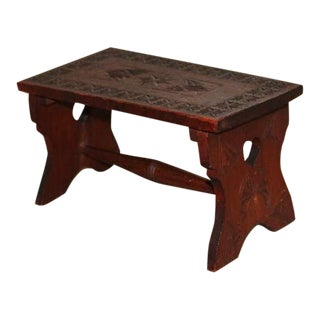 19th Century Hand Carved Walnut Folk Art Stool with Heart Cut Outs For Sale