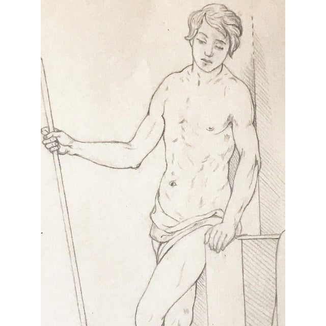 19th Century Neoclassical Drawing of a Greco Roman Male Nude For Sale - Image 4 of 7