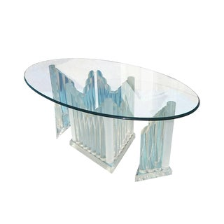 Vintage Oval Glass and Lucite Table For Sale