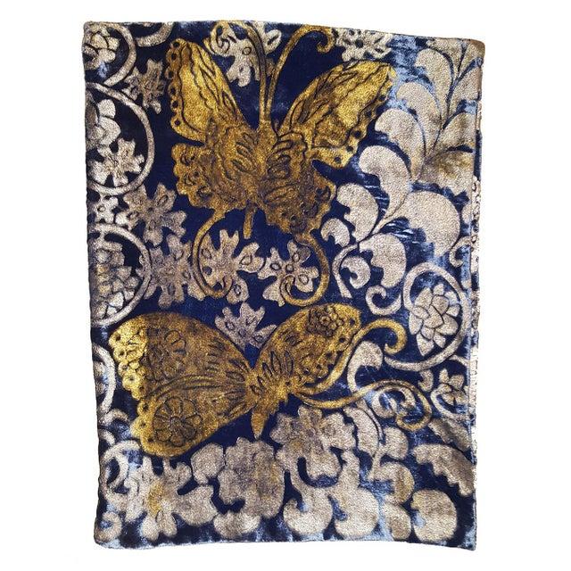 Illustration Butterflies Silk Velvet Pillow Cover For Sale - Image 3 of 3