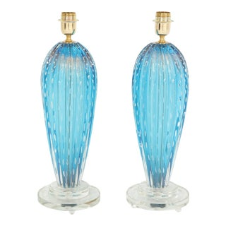 Blue Murano Glass Lamps - A Pair For Sale