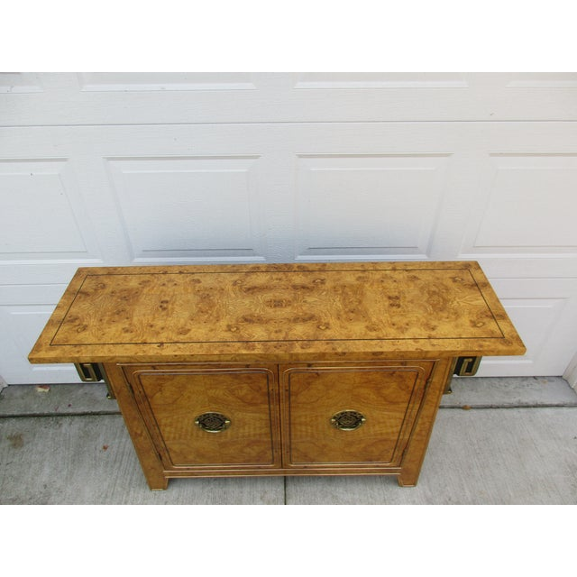 Burlwood and Brass Console Cabinet -Attributed to Mastercraft For Sale - Image 9 of 12