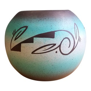 Signed Native American Mitchell Blackhorse Dineh Jardiniere Vase For Sale