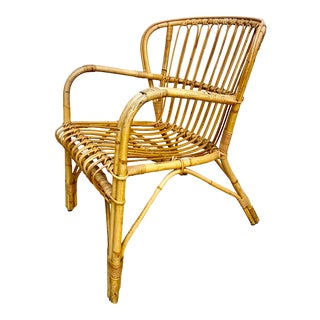 Mid Century Modern Franco Albini Rattan Bentwood Chair For Sale