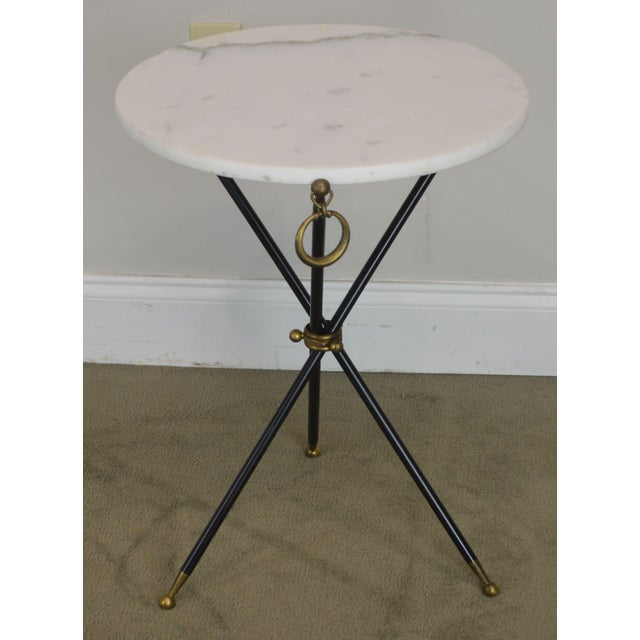 1950s Tripod Mid Century Regency Style Round Marble Top Side Table After Robsjohn Gibbings For Sale - Image 5 of 13