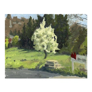 Original Landscape Oil Painting of Spring Green and Apple Blossoms - Blooming Tree For Sale