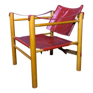 Red Leather and Birch Safari Chair, 1980s For Sale