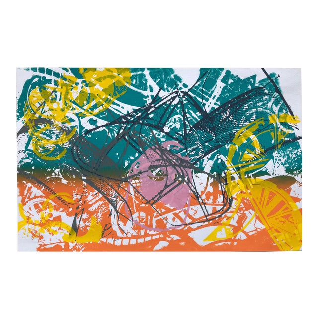 """1970s Abstract Silkscreen """"Orange Slices"""" For Sale"""