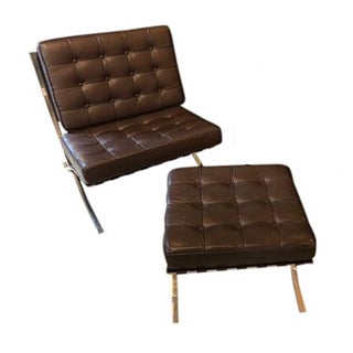 Mid Century Modern Vintage Barcelona Chair and Ottoman Set. For Sale