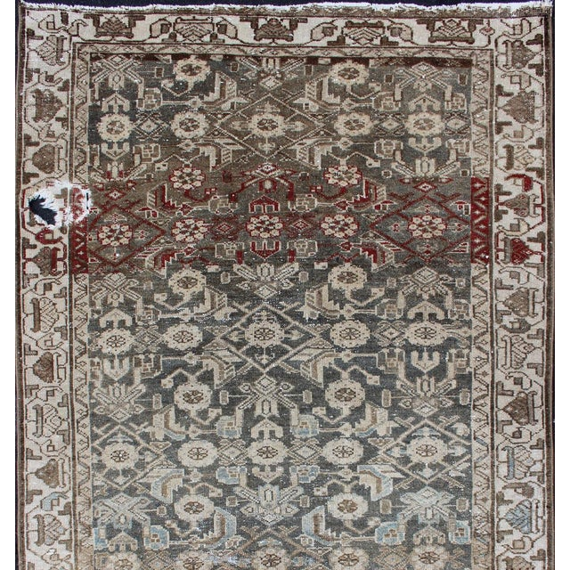 Earthy Tone Vintage Persian Hamadan Rug With All-Over Pattern For Sale - Image 4 of 12