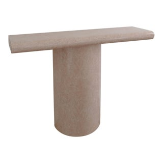 20th Century Postmodern Faux Marble Console Table For Sale