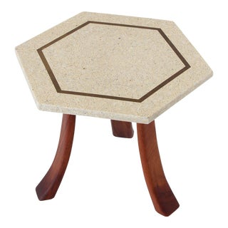 Harvey Probber Side Table in Terrazzo, Brass and Walnut For Sale