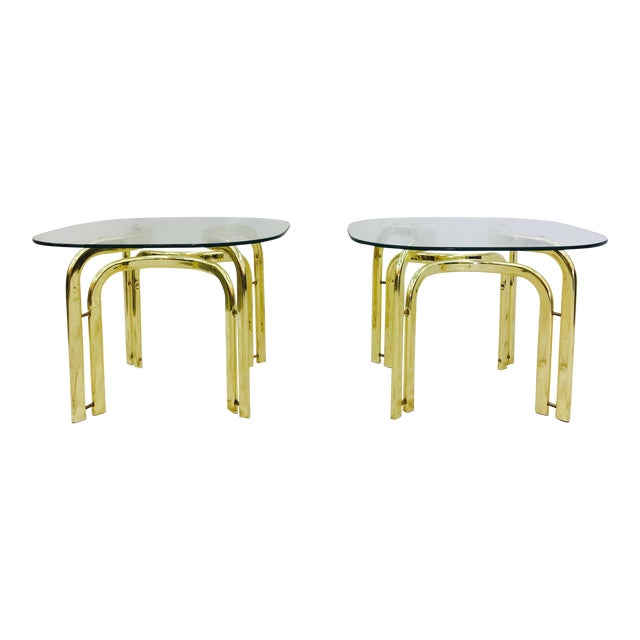 Modern Brass Side Tables - A Pair For Sale