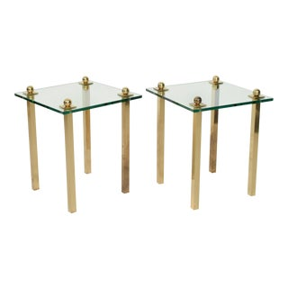 MidCentury Modern Regency Pair of Brass With Glass Side Tables For Sale