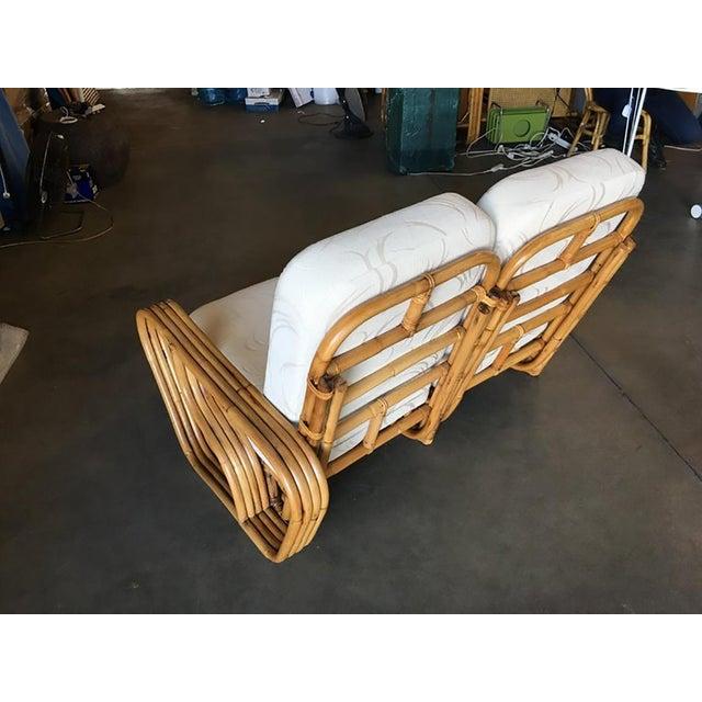 "1950s Rare Paul Frankl Style Square Pretzel ""S"" Arm Rattan Sofa W/ 2 Tier Table For Sale - Image 5 of 8"