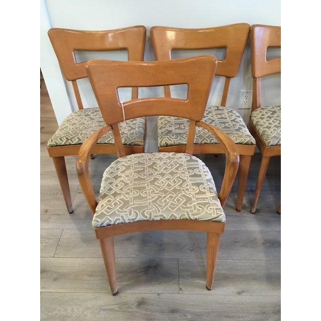 """Mid-Century Modern Heywood Wakefield Set of Six """"Dog Biscuit"""" Dining Chairs For Sale - Image 3 of 7"""