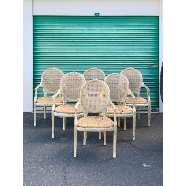 1960's Vintage Louis XVI Faux Bois Branch Form Cane Back Rush Seat Dining Chairs -Set of 6 For Sale - Image 13 of 13