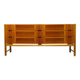 Swedish Teak Carved-Front Long Dresser Attr. Edmond Spence For Sale
