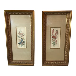 Pastel Butterfly Framed Paintings - a Pair