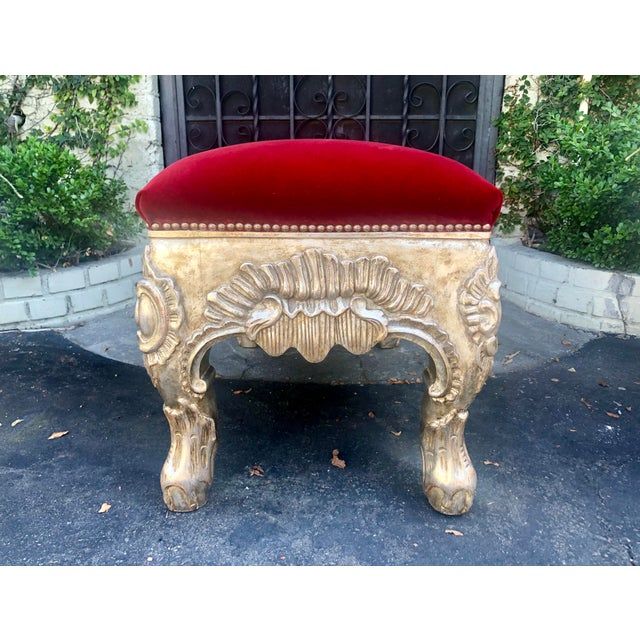 2000 - 2009 18th C Style Charles Pollock Royal Danish Ottoman Bench W Blood Red Velvet For Sale - Image 5 of 6