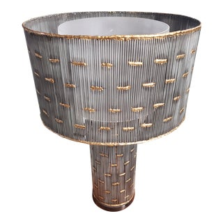 Gunmetal and Brass Cylinder Lamp For Sale