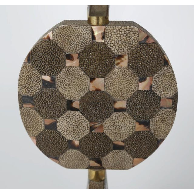 R & Y Augousti SCULPTURAL TABLE LAMP IN SHAGREEN AND HORN BY R & Y AUGOUSTI, CIRCA 1980S For Sale - Image 4 of 10