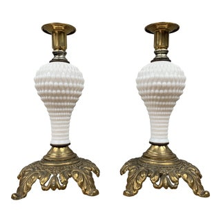 Vintage Milk Glass and Brass Candle Holders - a Pair For Sale