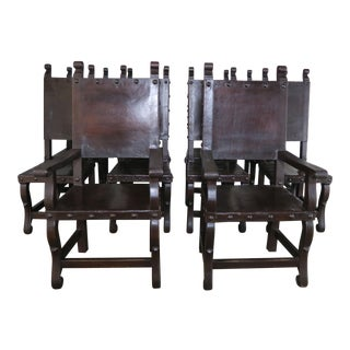 Set of Ten Spanish Walnut Leather Dining Chairs, Circa 1940s For Sale