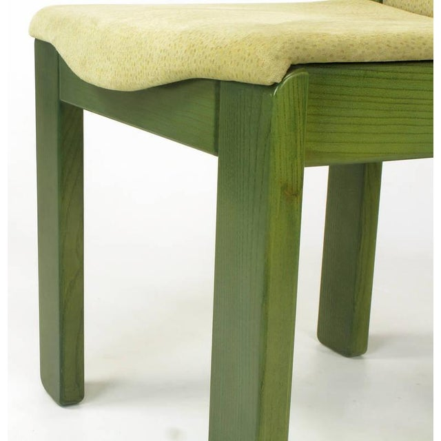 Wood Four Ernesto Radaelli for Saporiti Dining Chairs in Dyed Green Oak and Suede For Sale - Image 7 of 9