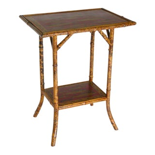 Red Bamboo Side Table For Sale