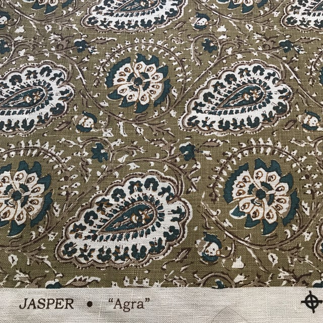 Love the shades of moss and teal in this to the trade only Jasper 100% Linen fabric. From the High-end John Rosselli show...