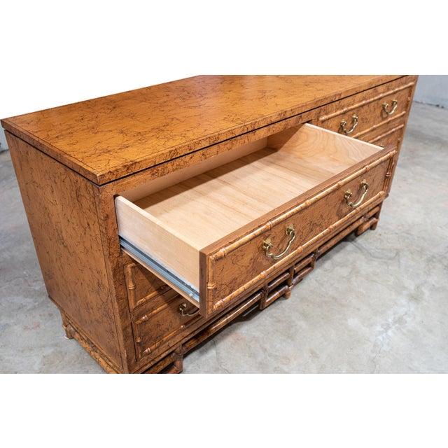 Metal 1960's Vintage Ficks Reed Faux Bamboo 7 Drawer Dresser For Sale - Image 7 of 13